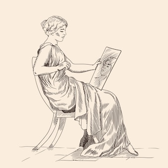 Uma jovem com uma túnica grega antiga, sentada em uma cadeira e olhando seu reflexo no espelho. isolado em bege.