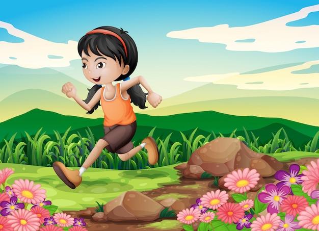 Uma jovem correndo apressadamente