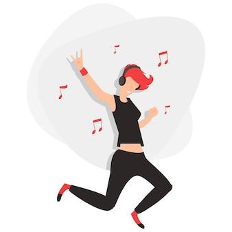 Uma jovem dançando ao som de rock isolado em um fundo branco