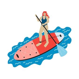 Uma jovem de pé em uma prancha de sup com remo sup boarding atividade ao ar livre plana vetor
