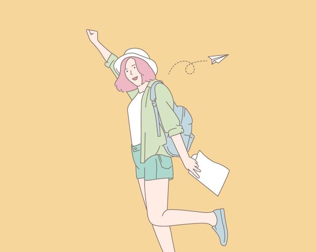Uma jovem desfrutando de sua viagem, ilustração do conceito