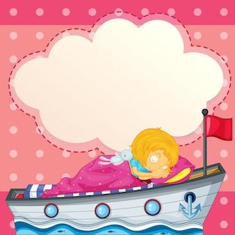 Uma jovem dormindo no navio com uma frase vazia