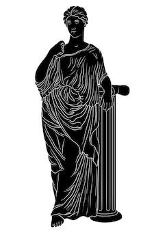 Uma jovem e esguia mulher grega antiga com uma túnica está perto de uma coluna de mármore e desvia o olhar.