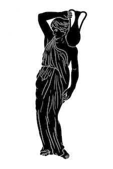 Uma jovem esbelta e grega antiga levanta-se e segura um jarro de barro no ombro.