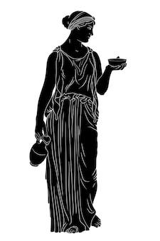 Uma jovem esguia grega se levanta e segura uma jarra de vinho e uma tigela.