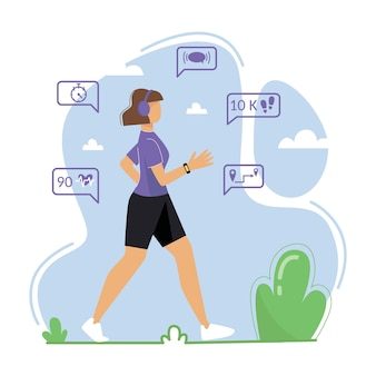 Uma jovem está empenhada em caminhar ao ar livre uma mulher usa um rastreador de fitness