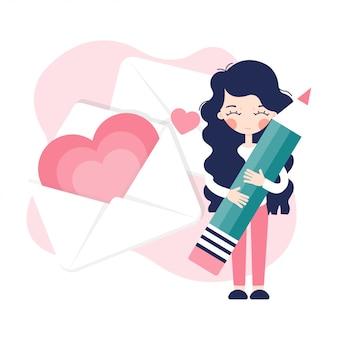 Uma jovem garota assina um cartão de dia dos namorados. envelope com corações.