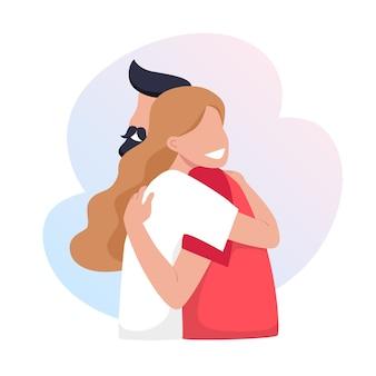 Uma jovem garota e um homem se abraçam.