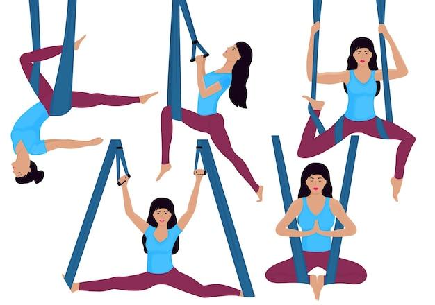 Uma jovem garota fazendo exercícios de ioga aérea em uma rede. conjunto de diferentes asanas.