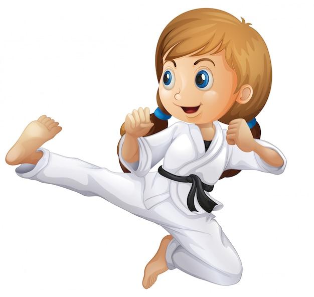Uma jovem garota fazendo karatê