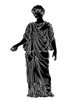 Uma jovem grega antiga básica em uma túnica e capa olha para longe e gesticula.
