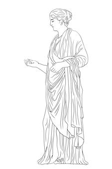 Uma jovem grega com uma túnica e uma capa olha para o lado e gesticula. figura isolada no fundo branco.