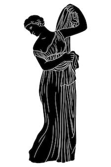 Uma jovem grega com uma túnica se levanta e veste uma capa. figura isolada no fundo branco.
