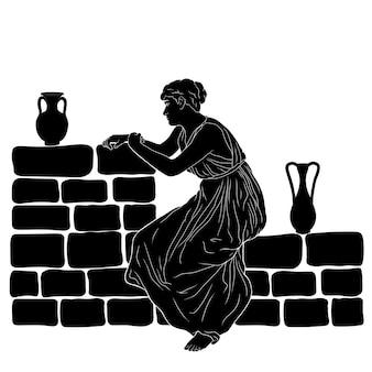 Uma jovem grega está sentada em um parapeito de pedra com duas jarras de vinho.