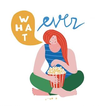 Uma jovem infeliz sentada comendo pipoca dizendo qualquer cor que bloqueie o design moderno e colorido
