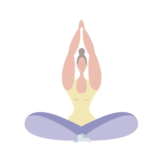 Uma jovem medita em posição de lótus