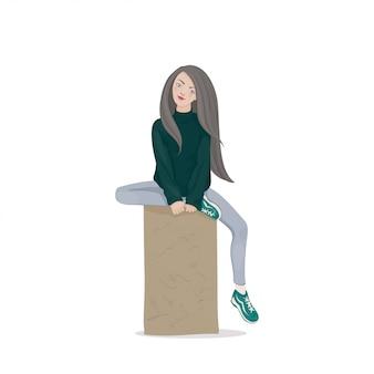 Uma jovem mulher com cabelos longos em um suéter verde escuro e sapatos esportivos, sentado em uma pedra de esporão. uma aluna. ilustração.