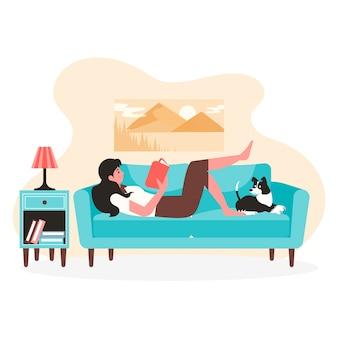 Uma jovem mulher relaxando em casa