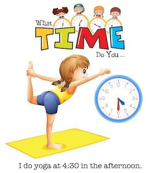 Uma jovem mulher yoga às 4:30