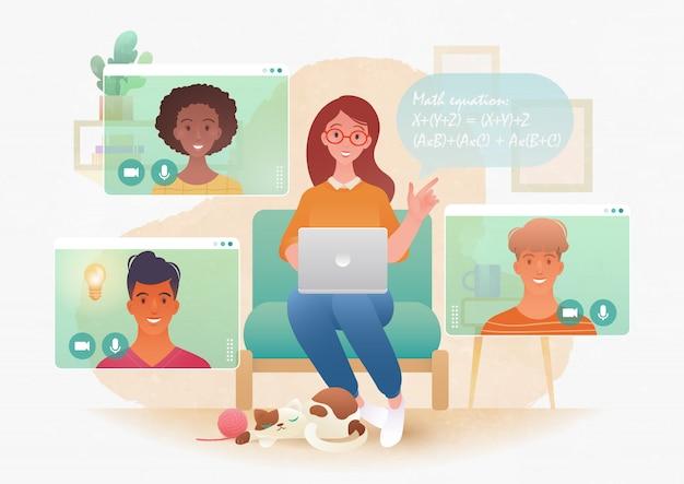 Uma jovem professora ensinando estudantes universitários através do aplicativo de chamada de vídeo em um computador laptop em design plano.