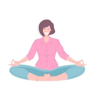 Uma jovem sentada em posição de lótus medita. ilustração em vetor conceito passatempo pessoal.