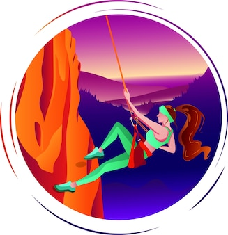 Uma jovem viajante escalando uma montanha