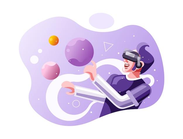 Uma juventude move objetos ao redor usando uma ilustração de fone de ouvido de realidade virtual vr