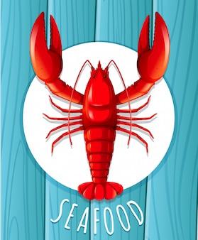 Uma lagosta vermelha no prato