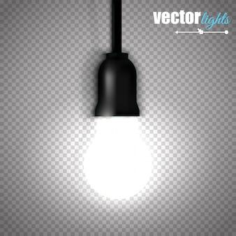 Uma lâmpada acesa isolada em fundo transparente.