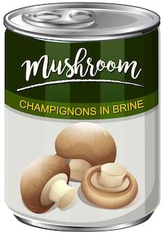 Uma lata de cogumelos champignon