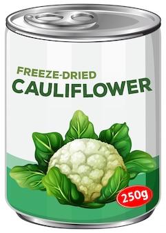 Uma lata de couve-flor freese-dries