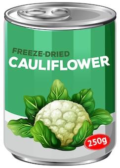 Uma lata de couve-flor liofilizada