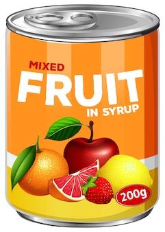 Uma lata de frutas mistas em calda