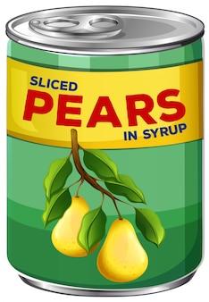 Uma lata de peras cortadas em calda