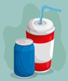 Uma lata de refrigerante e copo com palha
