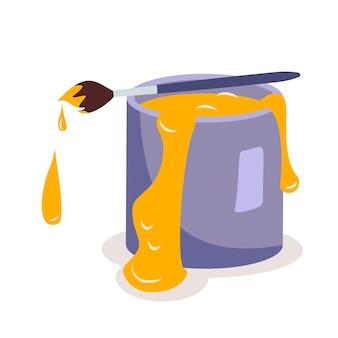 Uma lata de tinta amarela e um pincel um item para pintura, conserto e decoração