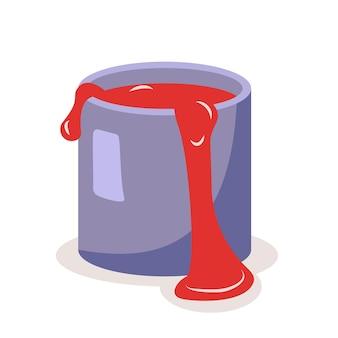 Uma lata de tinta vermelha. um assunto para pintura, reparo