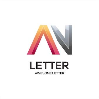 Uma letra com as iniciais do logotipo colorido gradiente abstrato