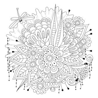 Uma libélula voa sobre um buquê de flores página para colorir ilustração da linha de arte