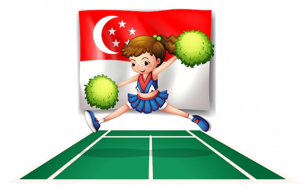 Uma líder de torcida com pompons verdes e a bandeira de cingapura