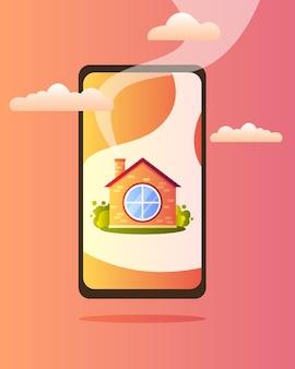 Uma linda casa de aldeia com uma janela redonda na tela do telefone, com nuvens e fumaça saindo da chaminé.