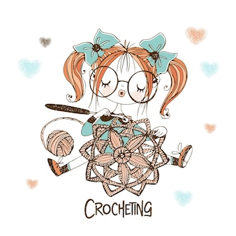 Uma linda costureira está fazendo um guardanapo com orifícios de crochê. vetor.