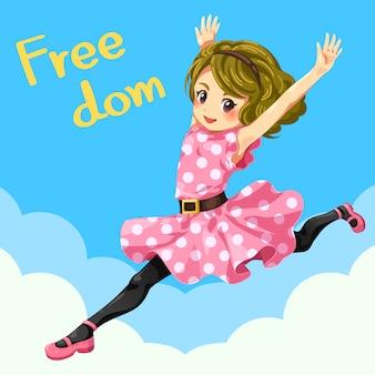 Uma linda garota adolescente está pulando, alegre, forte e livre