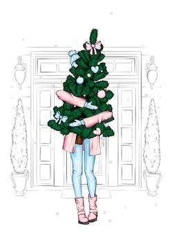 Uma linda garota com um casaco e botas está segurando uma árvore de natal. ano novo e natal.