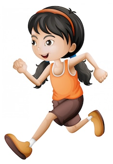 Uma linda garota correndo