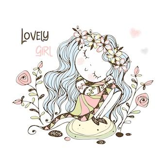 Uma linda garota em uma coroa de flores está sentada em uma pedra.