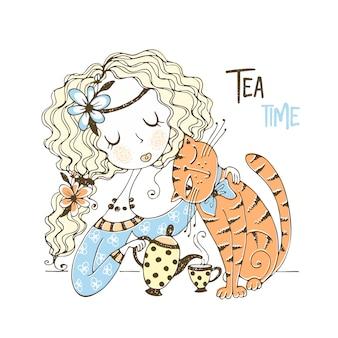 Uma linda garota está bebendo chá com seu gato de estimação.