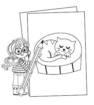 Uma linda garota está segurando um lápis enorme no tema de livro para colorir. ilustração em vetor preto e branco