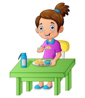 Uma linda garota feliz comendo ilustração de comida