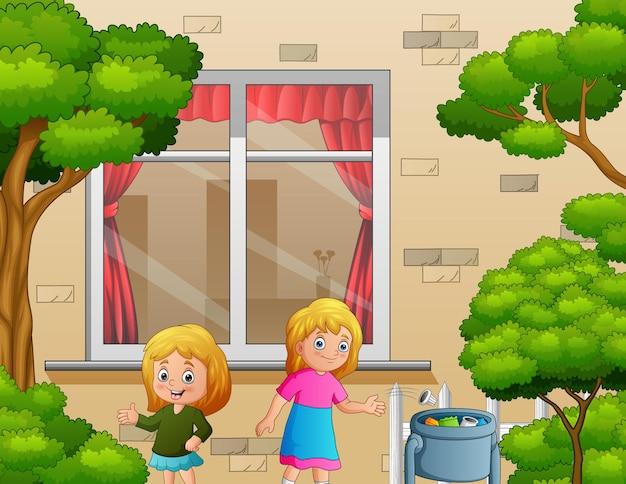 Uma linda garota jogando lixo na lixeira